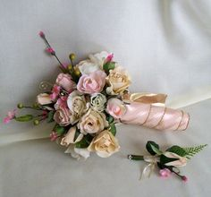 Cherry Blossom Bouquet silk Wedding Flowers roses