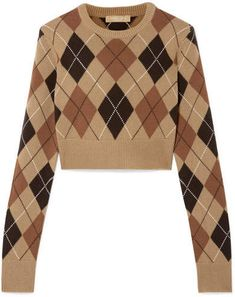 Alex's brown cropped argyle sweater on Star Cute Casual Outfits, Pretty Outfits, Michael Kors Collection, Mode Style, Handbags Michael Kors, Cashmere Sweaters, Aesthetic Clothes, Fashion Outfits, Style Fashion