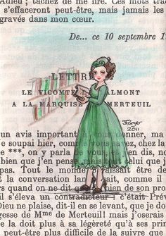 """Paris, 1953 - Noemie Peruses The Book Stalls"" by Purrr, original ACEO painting on vintage book page, 2.5""x3.5"", $19.50"