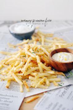 rosemary parmesan fries with truffle aioli