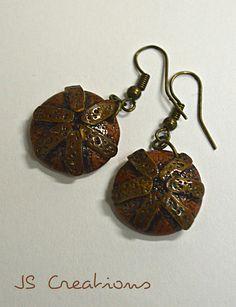 Antiquité series - faux metal earrings; #polymer