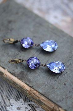 ❥ Swarovski Crystal Tanzanite and Lavender Bridal Earrings in Antiqued Brass