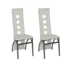Modern Dining Chairs High Back Seat White Faux Leather Steel Frame Set of 2 Chic