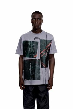This cement hued T shirt exhibits a sparse, striking design. The graphics on the front display industrial, Escheresque imagery, skeletal scaffolding overlaps and fills the dense space allocated – with the red punctuating the monochrome toning of the piece. The vinyl is framed by a trifecta of A-COLD-WALL* logos – one on each cuff and … Continued
