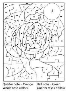 As simple and fun as a color-by-number, the students will use the key at the top of the page and identify musical symbols: Quarter note, half note, whole note and quarter rest. Elementary Music Lessons, Music Lessons For Kids, Music Lesson Plans, Music For Kids, Music Theory Worksheets, Middle School Music, Piano Music, Music Music, Primary Music