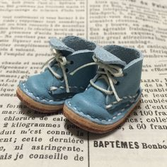 Real leather: miniature short boots blue sky for by nero1025