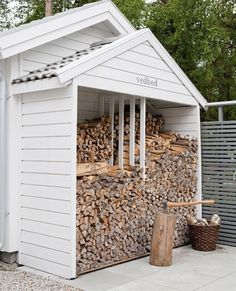 outdoor firewood rack - Check out these super easy DIY outdoor firewood racks. You can store your wood clean and dry and it allows you to buy wood in bulk saving you money. Outdoor Firewood Rack, Firewood Shed, Firewood Storage, Outdoor Storage, Shed Construction, Patio Pergola, Build Your Own Shed, Storage Shed Plans, Diy Storage