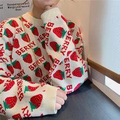 Vintage Strawberry Printed Loose Sweater Source by Miskimuslim kawaii Kawaii Fashion, Cute Fashion, Fashion Outfits, Emo Outfits, Lolita Fashion, Fashion Styles, Summer Outfits, Looks Style, My Style