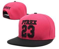 Men's Pyrex Vision Brand Number 23 Streetwear Hip Hop Fashion Snapback Hat - Rose / Black
