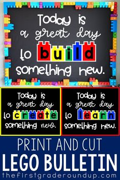 Are you looking for an easy to make STEM themed bulletin board? This board is a favorite of ours and works perfect in a Makerspace area, or as an inspirational quote display in a lego themed classroom. Lego Bulletin Board, Stem Bulletin Boards, Elementary Bulletin Boards, Kindergarten Bulletin Boards, Summer Bulletin Boards, Bulletin Board Display, Lego Classroom Theme, Preschool Classroom Decor, Classroom Board