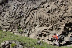 Colonnade and entablature columnar jointing structures in Iceland. Picture courtesy of Dougal Jerram.