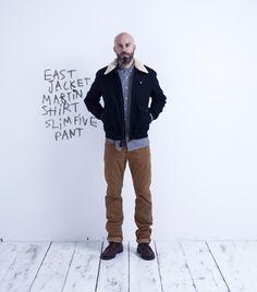 East Jacket // Martin Shirt // Slim Five Pant Bomber Jacket, Slim, Pants, Jackets, Shirts, Outfits, Fashion, Man Women, Men