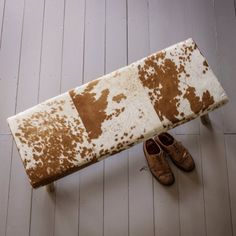 Tan And White Cowhide Bench | Stools & Benches | Graham & Green