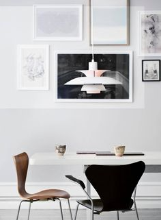 Series 7 chair by Arne Jacobsen from fritz hansen and pendant by Poul Henningsen from Louis POulsen Danish Furniture, Furniture Design, Estilo Interior, Interior And Exterior, Interior Design, Deco Addict, Scandinavian Interior, Lofts, Danish Design