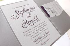 The Violet Suite - Modern Letterpress Wedding Invitation Suite, Purple, Plum, Grey, Liner, Calligraphy, Script, Swirls, Simple, Classic