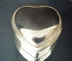 Silver Heart Trinket Box Jewelry Organizer by frankiesfrontdoor, $15.00