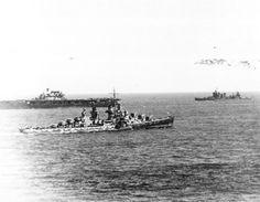 June 6, 1942: USS Hornet CV-8, USS Atlanta CL-51 and USS New Orleans CA-32 seen following the Battle of Midway.