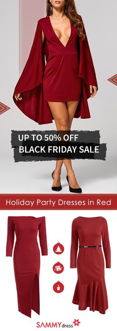Nothing says 'holidays' like the color red. SammyDress has a variety of red holiday party dresses for you to choose from. Whether you want off-the-shoulder, front plunge or long sleeved dresses, we have them all. All you'll need to do is throw on a Santa Clause hat and you'll be set for that holiday party.