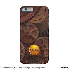 Metallic Brass, Gold and Steampunk Gears Custom Barely There iPhone 6 Case