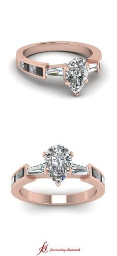 Twin Taper Ring || Pear Shaped Diamond Side Stone Rings With Black Diamond In 14K Rose Gold