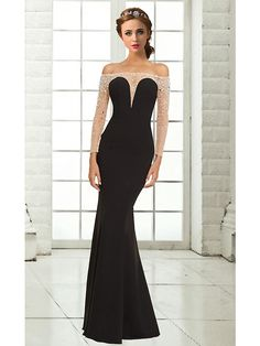Formal Evening Dress - Black Plus Sizes / Petite Trumpet/Mermaid Off-the-shoulder Floor-length Chiffon - USD $ 129.99 (Take Off Sleeves)