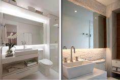 Banheiros clarinho com espelho no painel + iluminação indireta. Observem que o espelho é mais baixo que a torneira, mas no caso de painel fixo isso não é problema.