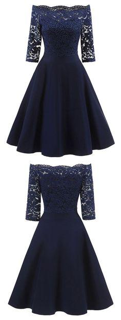 Half Sleeve Lace Burgundy/Navy Short Satin Homecoming Dress, Elegant Prom Dresses - Another! Elegant Prom Dresses, Grad Dresses, Pretty Dresses, Beautiful Dresses, Casual Dresses, Short Dresses, Fashion Dresses, Formal Dresses, Wedding Dresses