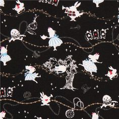black Kokka Alice in Wonderland fairy tale fabric tea from Japan