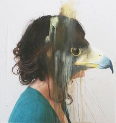 French artist Charlotte Caron makes very interesting paintings. For the works, a combination of photography and painting, she paints animal heads looking like some sort of masks over the faces of photo-portraits that she takes herself. Animal Masks, Animal Heads, Charlotte Caron, Montage Photo, A Level Art, Grafik Design, French Artists, Animal Paintings, Acrylic Paintings