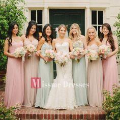2014 Formal Chiffon Bridemaids Dresses Plus Size A-Line Long Evening Prom Gowns