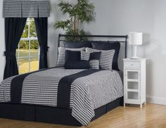Princeton Black and White Checkered Bedding by Victor Mill is made in the USA and is for those who enjoy black and white geometric checkered patterns and houndstooth prints.
