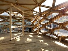 Elegant Geometric Pavilion Built with Recycled Wooden Pallets create a geometric pavilion for Villa Romana's German Institute of Culture, located in Florence, Italy.