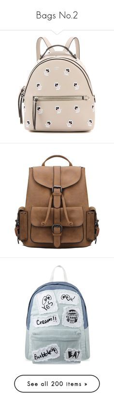 """Bags No.2"" by hamish-writter ❤ liked on Polyvore featuring bags, backpacks, backpack, beige, leather rucksack, fendi backpack, backpack bags, real leather backpack, pink leather bag and accessories"