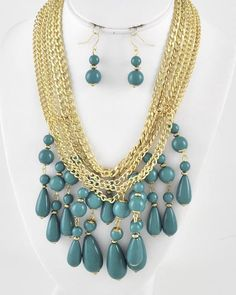 Gold Tone / Teal Blue Acrylic / Lead Compliant / Metal Chain / Multi Row / Charm Necklace & Fish Hook Earring Set