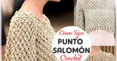 Cómo se teje el punto Salomón al Crochet. Bolero de fiesta tejido al crochet en punto Salomón con perlas agregadas