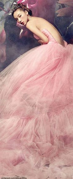 Queen LadyLuxury -Tiara with Pink Tulle Whimsical Cloud Of Tulle Gown  - #LadyLuxuryDesigns