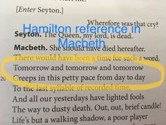 I can't tell if this person is joking or actually thinks that a story written hundreds of years ago has a Hamilton reference but either way I love them. Hamilton Quotes, Hamilton Fanart, The Scottish Play, Hercules Mulligan, Hansen Is, Bad Memes, Hamilton Musical, And Peggy, Dear Evan Hansen