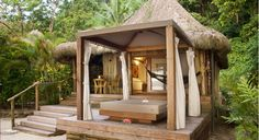 63 Favourite Small Log Cabin Homes Design Ideas - Home/Decor/Diy/Design Small Log Cabin, Log Cabin Homes, Fiji Honeymoon, Bamboo House Design, Hut House, Beach Bungalows, Beach Shack, Backyard Projects, Tropical Houses