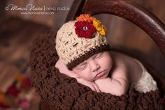 Baby Girl Hat Beanie, newborn crochet hat, Oatmeal/Brown beanie with flowers, fall colors, photography prop for girls- possible LS2 session?