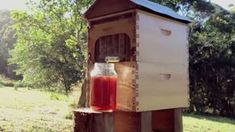 """The Flow is a """"revolutionary beehive invention, allowing you to harvest honey without opening the hive and with minimal disturbance to the bees."""" Basically, it's a backyard beehive that puts fresh honey on tap. The bees do the work in the hive, and all you have to do is turn the spigot. Fresh honey should flow out of the tap and into your Mason jar."""