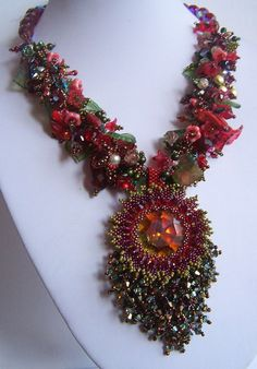 """Dahlia rouge"" beadwoven necklace,  2011, by liliadbijoux"