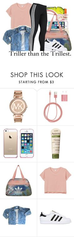 """Adidas ."" by prvncessbeautifulmee ❤ liked on Polyvore featuring Michael Kors, PhunkeeTree, Aveeno, adidas Originals, Monki, GUESS and adidas"