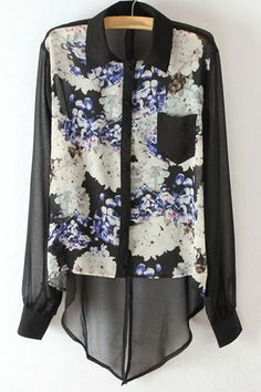 #Aprilwe  Swallow-tail Hem Floral Print Chiffon Shirt