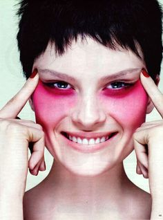 I love how this singular pop of color on the cheeks is so striking yet the model remains fresh and pretty.  Beauty Ed by Eric Traore for Vogue Germany, March 2008