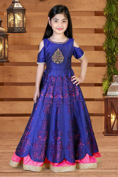 Picture of Lovely royal blue & pink designer gown Long Frocks For Kids, Frocks For Girls, Gowns For Girls, Kids Party Wear Dresses, Cute Girl Dresses, Kid Dresses, Baby Dress Design, Frock Design, Baby Long Frock