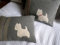 Hand printed west highland terrier cushion by helkatdesign on Etsy, $62.00