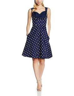 12, Blue, Lindy Bop Women's Ophelia Blue Polka Dress NEW