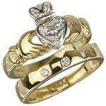 18k Yellow & White Gold Diamond Heart Claddagh and 18k Diamond Wedding Band