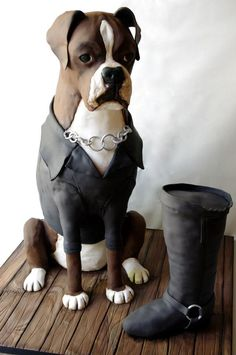 Boxer dog cake, the legs are scary thin, but cute idea! Crazy Cakes, Fancy Cakes, Cute Cakes, Yummy Cakes, Unique Cakes, Creative Cakes, Beautiful Cakes, Amazing Cakes, Boxer Dogs