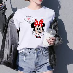 mickey minne mouse Print T-Shirt iawear Mickey Mouse T Shirt, T Shirts For Women, Clothes For Women, Vintage Tees, Female Models, Sleeve Styles, Shirt Designs, Graphic Sweatshirt, Fashion Outfits